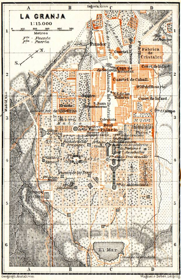 La Granja city map, 1929. Use the zooming tool to explore in higher level of detail. Obtain as a quality print or high resolution image