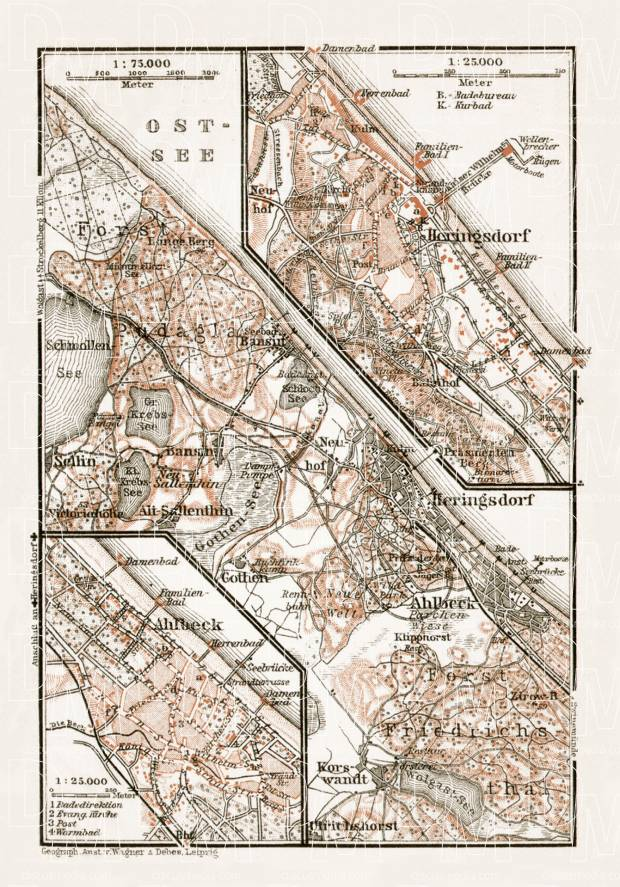 Ahlbeck and Heringsdorf towns´ and their environs map, 1911. Use the zooming tool to explore in higher level of detail. Obtain as a quality print or high resolution image
