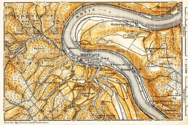 Boppard and environs map, 1905. Use the zooming tool to explore in higher level of detail. Obtain as a quality print or high resolution image
