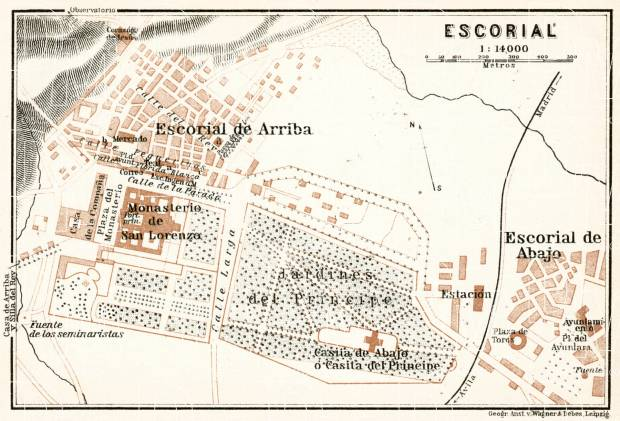 El Escorial de Arriba (San Lorenzo de El Escorial) town plan, 1913. Use the zooming tool to explore in higher level of detail. Obtain as a quality print or high resolution image
