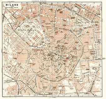 Milan (Milano) city map, 1909