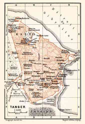 Tánger (طنجة, Tangier) city map, 1899