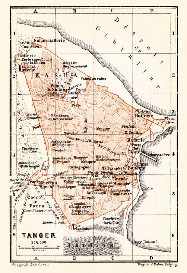 Historical map prints of Tanger in Morocco for sale and download