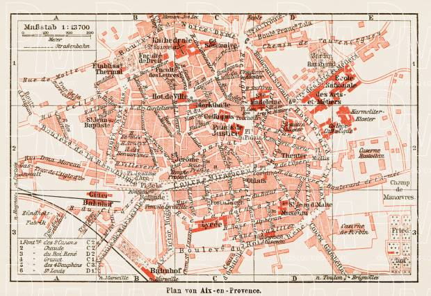 Old map of AixenProvence in 1913 Buy vintage map replica poster