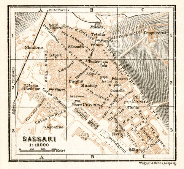 Sassari city map, 1912. Use the zooming tool to explore in higher level of detail. Obtain as a quality print or high resolution image