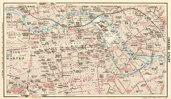 Berlin, city centre map with tramway and S-Bahn networks, 1910