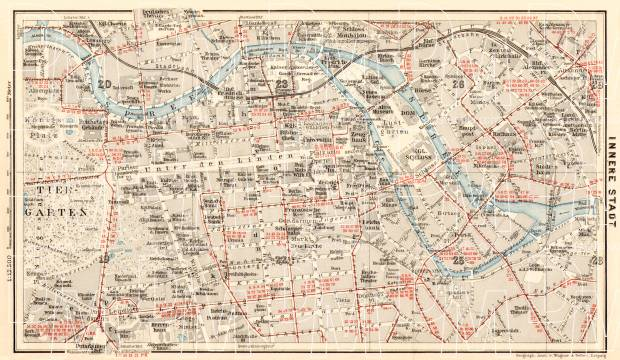 Berlin, city centre map with tramway and S-Bahn networks, 1910. Use the zooming tool to explore in higher level of detail. Obtain as a quality print or high resolution image