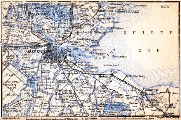 Amsterdam and environs map, 1904. Use the zooming tool to explore in higher level of detail. Obtain as a quality print or high resolution image