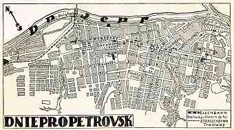 Dnepropetrovsk (Днiпропетровськ, Dnipropetrovsk) city map, 1928