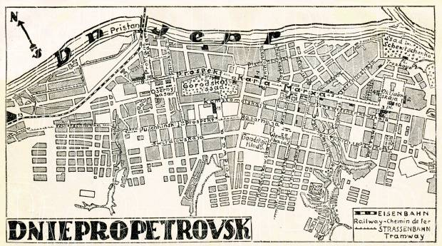 Dnepropetrovsk (Днiпропетровськ, Dnipropetrovsk) city map, 1928. Use the zooming tool to explore in higher level of detail. Obtain as a quality print or high resolution image