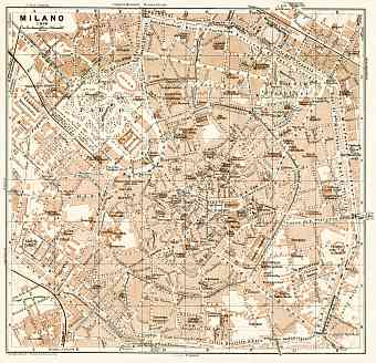 Milan (Milano) city map, 1913