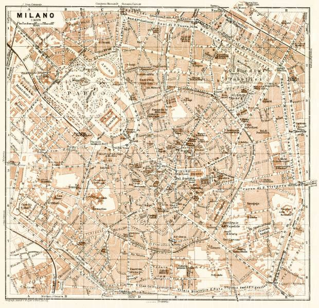 Old map of Milan Milano in 1913 Buy vintage map replica poster