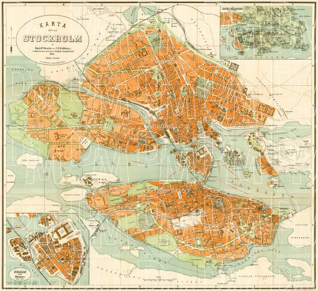 Old map of Stockholm in 1893 Buy vintage map replica poster print