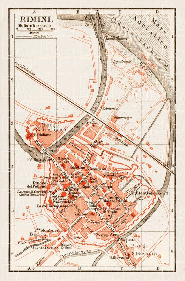 Rimini town plan, 1903. Use the zooming tool to explore in higher level of detail. Obtain as a quality print or high resolution image