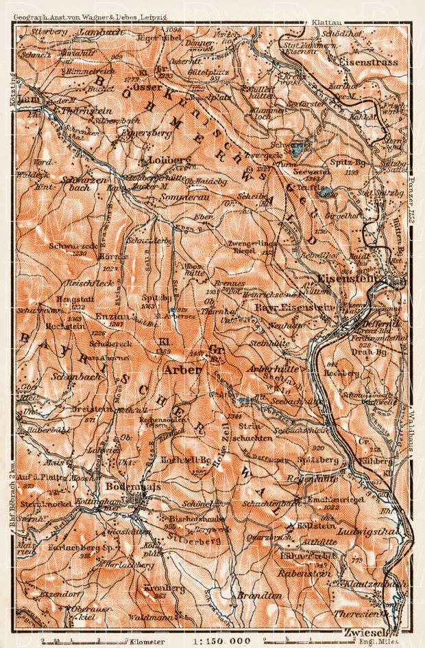 Map of the Bavarian Forest (Bayerischer Wald), western region, 1909. Use the zooming tool to explore in higher level of detail. Obtain as a quality print or high resolution image