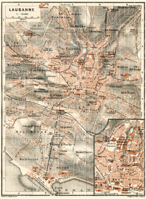 Old map of Lausanne in 1913 Buy vintage map replica poster print or