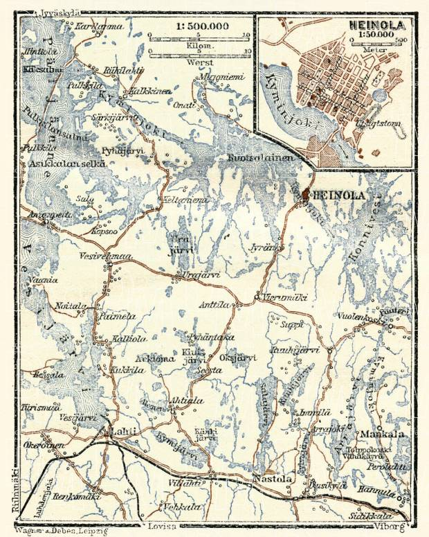 Old map of Heinola and the Mankala rapids in 1914 Buy vintage map