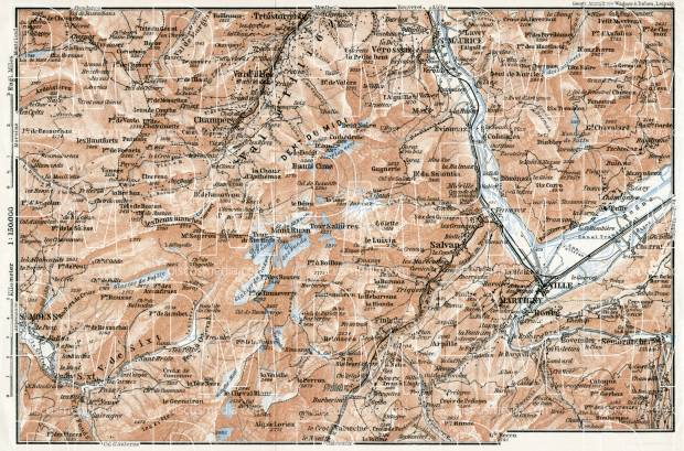 Val-d´Illiez and Dents du Midi map, 1909. Use the zooming tool to explore in higher level of detail. Obtain as a quality print or high resolution image