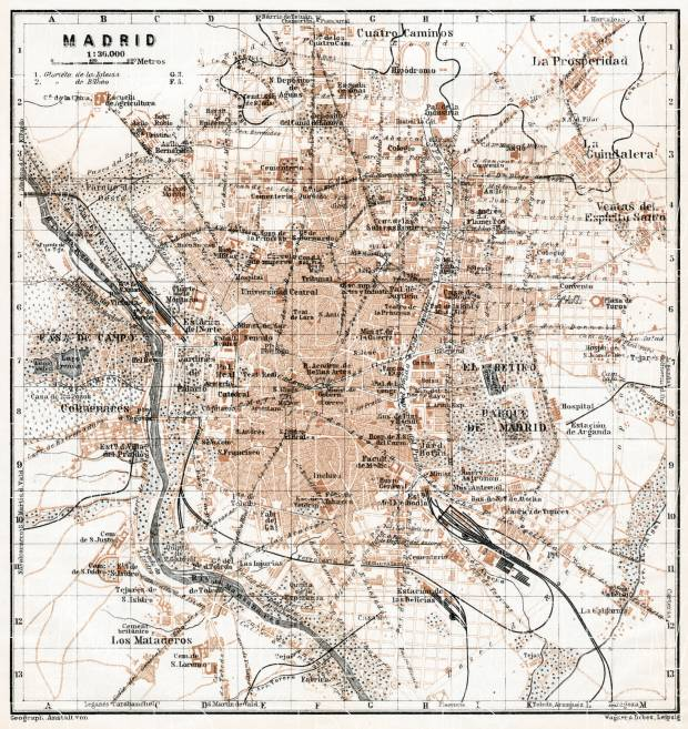 Madrid city map, 1913. Use the zooming tool to explore in higher level of detail. Obtain as a quality print or high resolution image