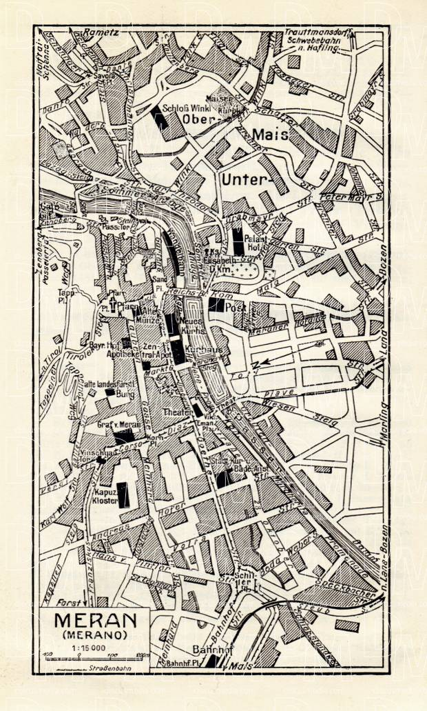 Meran (Merano) city map, 1929. Use the zooming tool to explore in higher level of detail. Obtain as a quality print or high resolution image