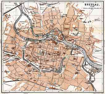 Breslau (Wrocław) city map, 1887
