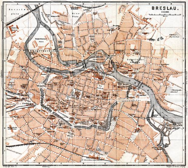 Old map of Breslau Wrocaw in 1887 Buy vintage map replica poster
