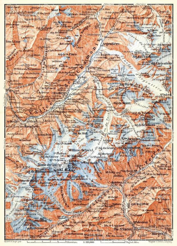Mont Blanc and Chamonix Valley map, 1898. Use the zooming tool to explore in higher level of detail. Obtain as a quality print or high resolution image