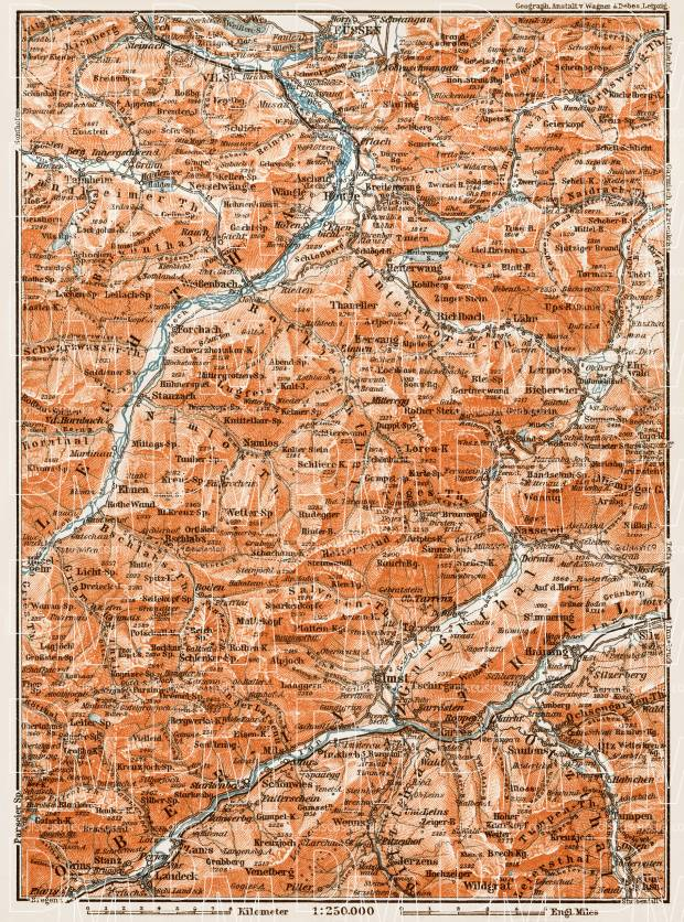 Map of the environs of Reutte and Imst, 1909. Use the zooming tool to explore in higher level of detail. Obtain as a quality print or high resolution image