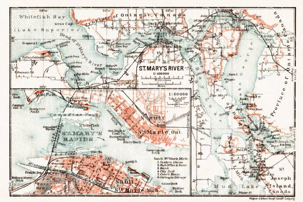 St. Mary´s River (with Sault Ste. Marie Town Plan), 1909. Use the zooming tool to explore in higher level of detail. Obtain as a quality print or high resolution image