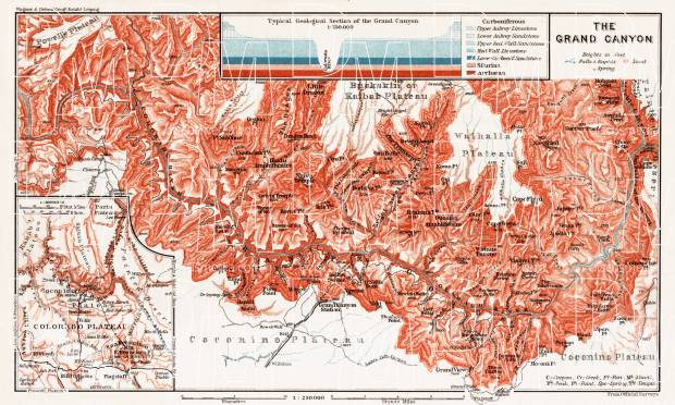 Map Of The Grand Canyon Of The Colorado 1909