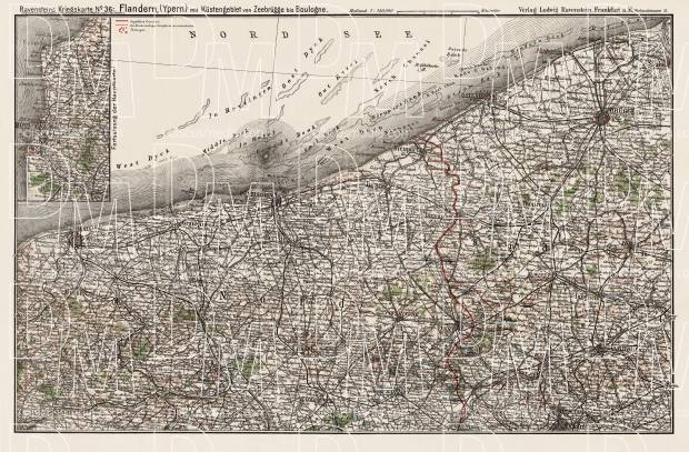 Map of Flanders, 1916. Use the zooming tool to explore in higher level of detail. Obtain as a quality print or high resolution image