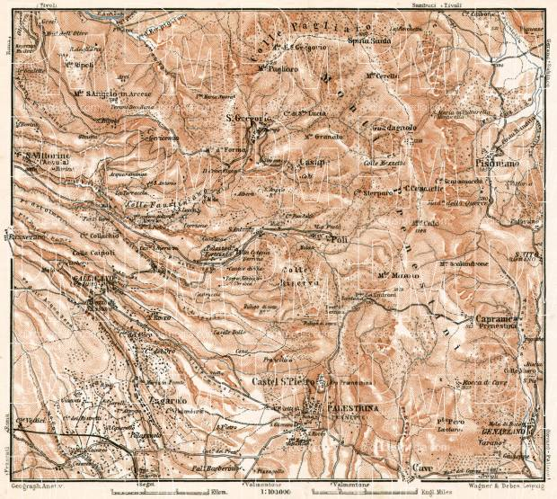 Sabine hills with Palestrina map, 1909. Use the zooming tool to explore in higher level of detail. Obtain as a quality print or high resolution image