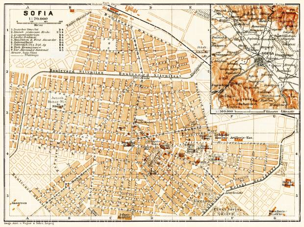 Sofia (София) city map, 1906. Use the zooming tool to explore in higher level of detail. Obtain as a quality print or high resolution image