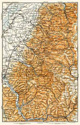 Schwarzwald (the Black Forest) map. The north part, 1906