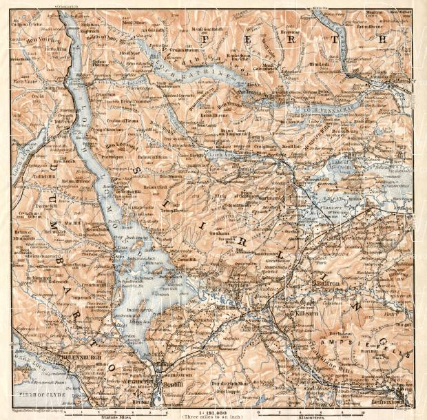 Loch Lomond and the Trossachs map, 1906. Use the zooming tool to explore in higher level of detail. Obtain as a quality print or high resolution image