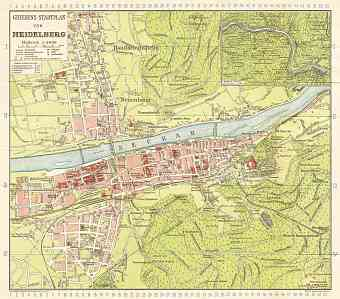 Heidelberg city map, 1927