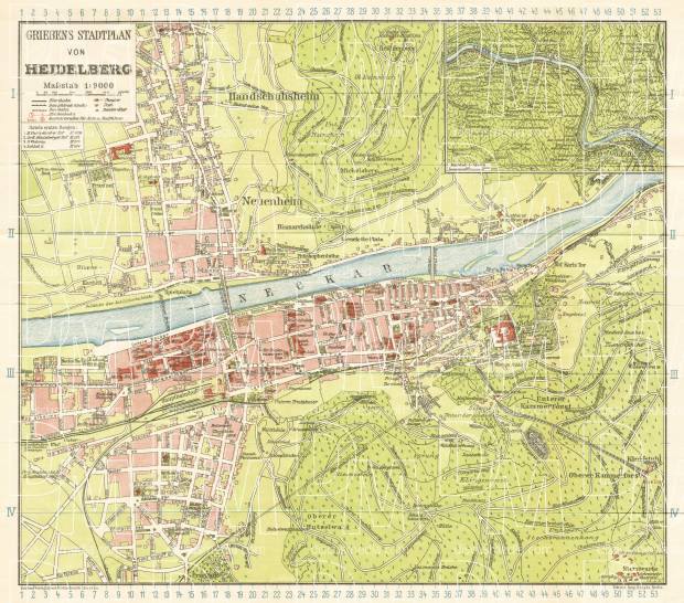 Heidelberg city map, 1927. Use the zooming tool to explore in higher level of detail. Obtain as a quality print or high resolution image