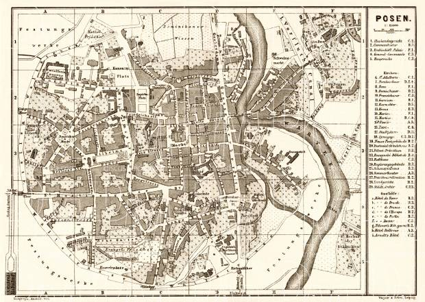 Posen (Poznań) city map, 1887. Use the zooming tool to explore in higher level of detail. Obtain as a quality print or high resolution image