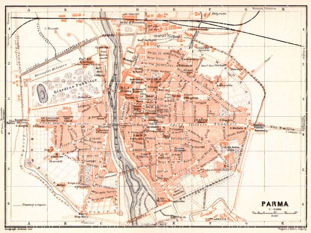 Parma city map, 1908. Use the zooming tool to explore in higher level of detail. Obtain as a quality print or high resolution image