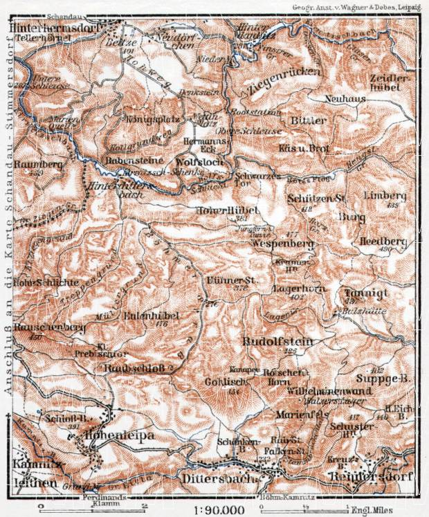 Lower Sächsische Schweiz (Saxonian Switzerland), 1911. Use the zooming tool to explore in higher level of detail. Obtain as a quality print or high resolution image