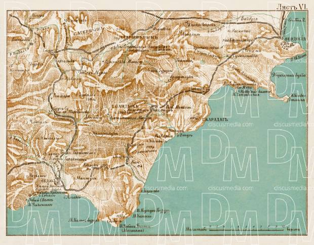 South Crimea: Sudak - Theodosia district map, 1904. Use the zooming tool to explore in higher level of detail. Obtain as a quality print or high resolution image