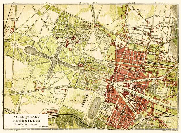 Versailles city and park map, 1903. Use the zooming tool to explore in higher level of detail. Obtain as a quality print or high resolution image