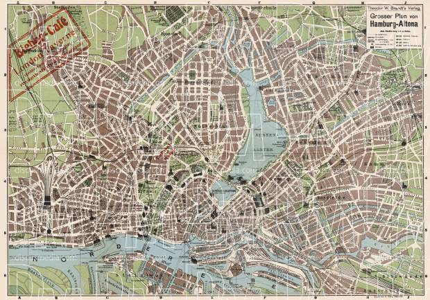 Hamburg city map, 1905. Use the zooming tool to explore in higher level of detail. Obtain as a quality print or high resolution image