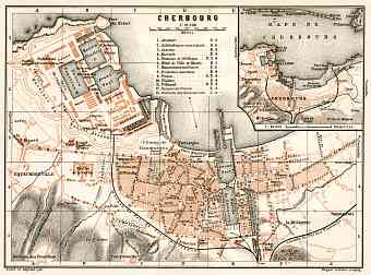 Cherbourg city map, 1909
