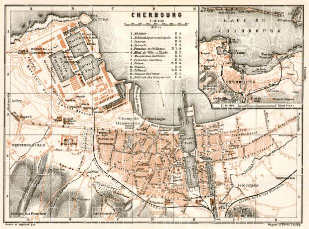 Cherbourg city map, 1909. Use the zooming tool to explore in higher level of detail. Obtain as a quality print or high resolution image