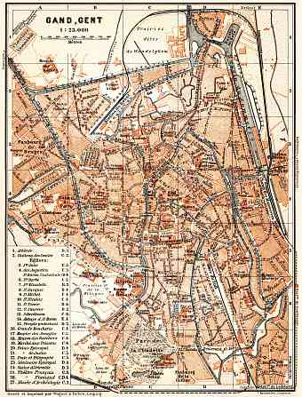 Ghent (Gent) city map, 1904