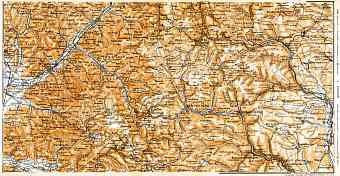Schwarzwald (the Black Forest). Elz valley map, 1905