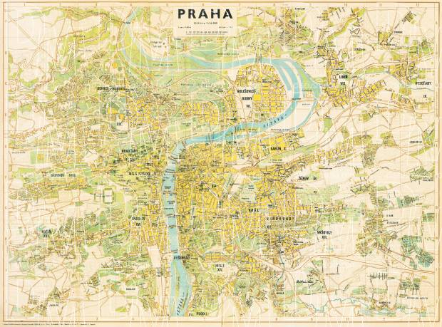 Prague (Praha) city map, 1946. Use the zooming tool to explore in higher level of detail. Obtain as a quality print or high resolution image