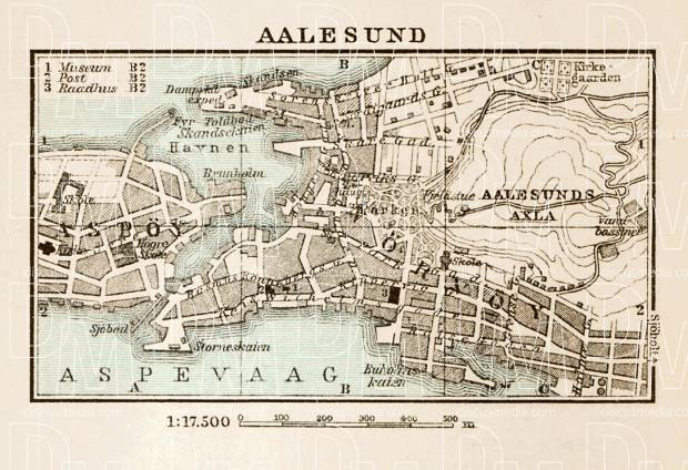 Aalesund (Ålesund) town plan, 1931. Use the zooming tool to explore in higher level of detail. Obtain as a quality print or high resolution image