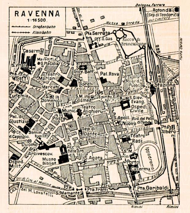 Ravenna city map, 1929. Use the zooming tool to explore in higher level of detail. Obtain as a quality print or high resolution image